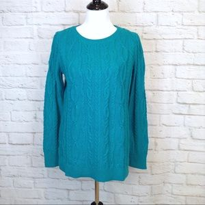 Loft peacock teal cable tunic sweater